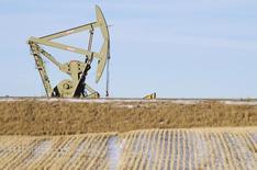 Una unidad de bombeo de crudo funcionando cerca de Williston, EEUU, ene  23, 2015. La industria petrolera redujo el gasto de inversión en más de 100.000 millones de dólares el año pasado y otra ronda de importantes recortes este año afectaría las perspectivas sobre la producción, dijo el viernes el economista jefe de la Agencia Internacional de Energía (AIE).   REUTERS/Andrew Cullen