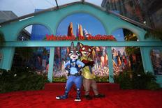 "The characters of Judy Hopps and Nick Wilde pose at the premiere of ""Zootopia"" at El Capitan theatre in Hollywood, California February 17, 2016. REUTERS/Mario Anzuoni"