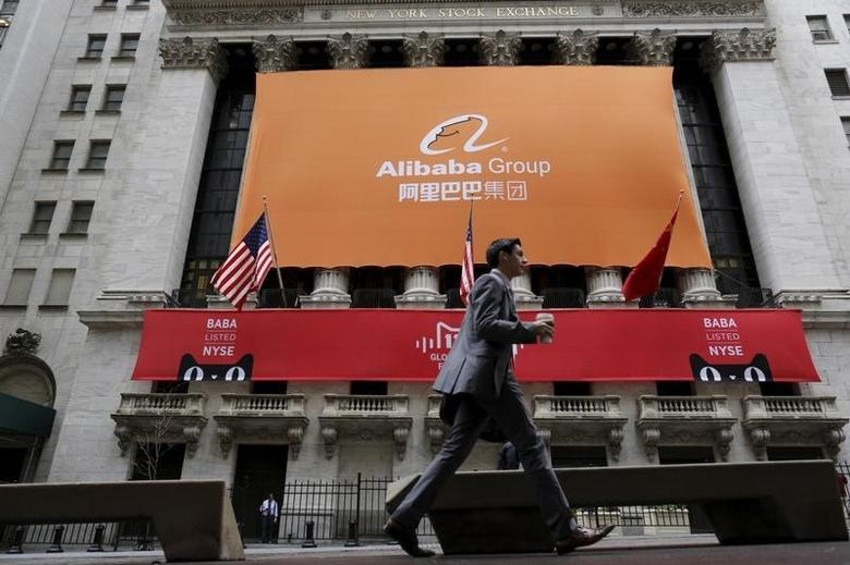 Signage for Alibaba Group Holding Ltd. covers the front facade of the New York Stock Exchange November 11, 2015. REUTERS/Brendan McDermid