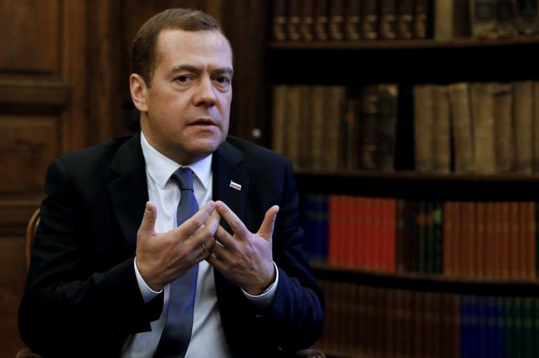 Russian Prime Minister Dmitry Medvedev speaks during an interview on the sidelines of the Munich Security Conference in Munich, Germany, February 13, 2016.  REUTERS/Dmitry Astakhov/Sputnik/Pool