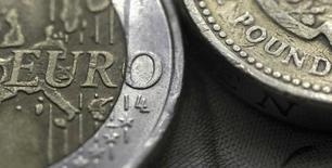 """La agencia de calificación Moody's dijo el martes que ve """"claros riesgos a la baja"""" si Gran Bretaña opta por salir de la Unión Europea en un referendo que se llevará a cabo en junio, al tiempo que reiteró su advertencia de que la deuda del país sería más vulnerable a una rebaja en caso del denominado """"Brexit"""". En la imagen, una moneda de dos euros junto a una de una libra, en una foto tomada el 16 de marzo de 2016.  REUTERS/Phil Noble/Illustration"""