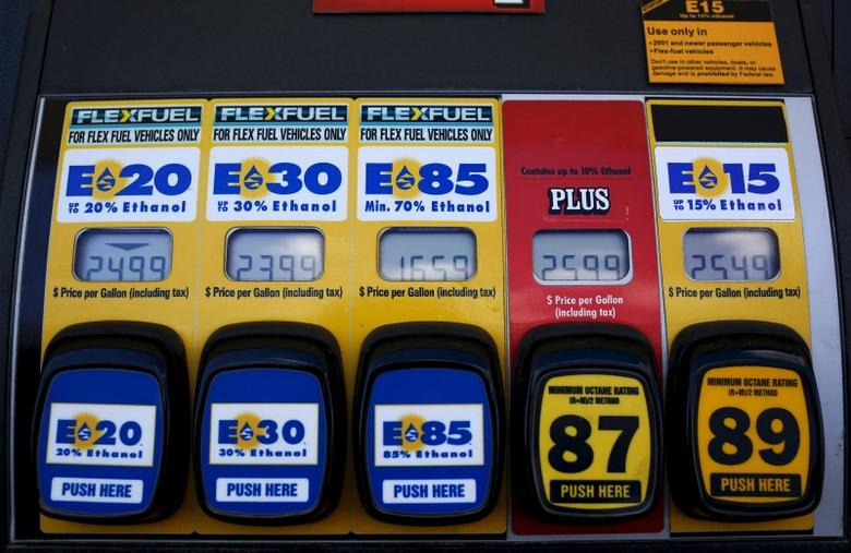 A gas pump displays the price for E15, a gasoline with 15 percent of ethanol, and various other ethanol blends at a gas station in Nevada, Iowa, in this May 17, 2015 file photo.  REUTERS/Jim Young/Files