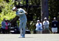 Apr 8, 2016; Augusta, GA, USA; Danny Lee hits a shot on the 8th hole during the second round of the 2016 The Masters golf tournament at Augusta National Golf Club. Mandatory Credit: Michael Madrid-USA TODAY Sports