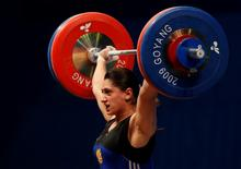 Nazik Avdalyan of Armenia competes in the women's 69kg Group A weightlifting snatch competition at the World Weightlifting Championships in Goyang, north of Seoul, November 27, 2009. REUTERS/Lee Jae-Won