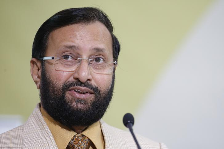 India's Environment Minister Prakash Javadekar delivers his speech during a meeting at the World Climate Change Conference 2015 (COP21) at Le Bourget, near Paris, France, December 7, 2015. REUTERS/Stephane Mahe/Files