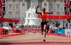 Athletics - 2016 Virgin Money London Marathon - London - 24/4/16 Kenya's Jemima Sumgong wins the women's race Action Images via Reuters / Paul Childs Livepic