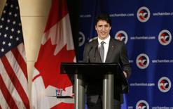 Canadian Prime Minister Justin Trudeau delivers his speech at the U.S. Chamber of Commerce in Washington, March 31, 2016.      REUTERS/Gary Cameron