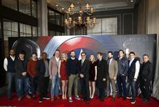"Cast and Crew members of the film pose for photographers at a media event ahead of the release of, ""Captain America: Civil War"", in London, Britain, April 25, 2016. REUTERS/Peter Nicholls"