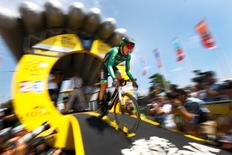 Europcar rider Thomas Voeckler of France cycles during the 13.8 km (8.57 miles) individual time-trial first stage of the 102nd Tour de France cycling race in Utrecht, Netherlands, July 4, 2015.  REUTERS/Stefano Rellandini      - RTX1IZK3
