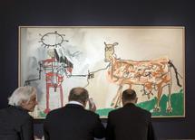 "Obra ""The Field Next To the Other Road"", de Basquiat, visto em Nova York.    02/05/2015       REUTERS/Darren Ornitz"