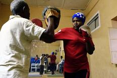 Sahar Mohamed Al Dooma, 26, practises boxing at Al Rabie club in Omdurman May 10,2016. REUTERS/Mohamed Nureldin abdallah