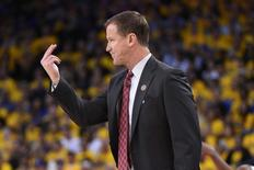 May 11, 2016; Oakland, CA, USA; Portland Trail Blazers head coach Terry Stotts instructs against the Golden State Warriors during the second quarter in game five of the second round of the NBA Playoffs at Oracle Arena. Mandatory Credit: Kyle Terada-USA TODAY Sports