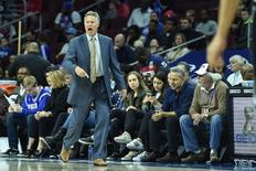 Mar 11, 2016; Philadelphia, PA, USA; Philadelphia 76ers head coach Brett Brown shouts at his team during the first quarter of the game against the Brooklyn Nets at the Wells Fargo Center. Mandatory Credit: John Geliebter-USA TODAY Sports