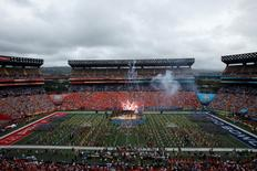 Fireworks and performances kick off the pre-game show of the NFL Pro Bowl at Aloha Stadium in Honolulu, Hawaii January 27, 2013. REUTERS/Hugh Gentry