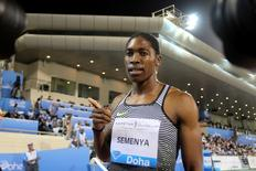 Caster Semenya of South Africa celebrates after winning the Women's 800 event at the IAAF Diamond League athletics meet in Doha, Qatar May 6, 2016. REUTERS/Ibraheem Al Omari
