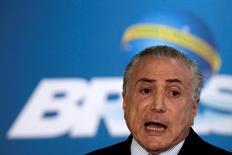 Presidente interino Michel Temer em cerimônia no Palácio do Planalto. 02/06/2016 REUTERS/Ueslei Marcelino