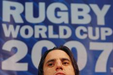 Agustin Pichot, captain of the Argentine rugby team, addresses a news conference in Enghien-les-Bains, France October 12 2007.   REUTERS/Juan Medina