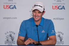 June 14, 2016; Oakmont, PA, USA; Justin Rose addresses the media in a press conference during the practice rounds on Tuesday of the 2016 U.S. Open golf tournament at Oakmont CC. Mandatory Credit: Kyle Terada-USA TODAY Sports
