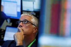 A trader works on the floor of the New York Stock Exchange (NYSE) in New York, U.S., June 24, 2016.  REUTERS/Lucas Jackson