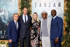 "Cast members (L-R) Christoph Waltz, Alexander Skarsgard, Margot Robbie, Samuel L. Jackson and Djimon Hounsou pose at the premiere of the movie ""The Legend of Tarzan"" in Hollywood, California, June 27, 2016. REUTERS/Danny Moloshok"