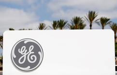 The logo of General Electric is shown in Santa Ana, California April 13, 2016.  REUTERS/Mike Blake