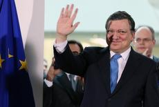 Former president of the European Commission Jose Manuel Barroso waves after delivering a speech at a ceremony at the EU Commission headquarters in Brussels in this October 30, 2014 file photo. REUTERS/Francois Lenoir