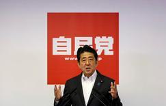 Primeiro-ministro do Japão, Shinzo Abe, durante evento em Tóquio.    11/07/2016    REUTERS/Toru Hanai