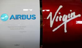 Airbus and Virgin logos are pictured on engines during the delivery of the first series-production LEAP-1A propulsion systems by Aircelle for the A320neo aircraft Airbus family in Colomiers near Toulouse, Southwestern France, April 15, 2016. REUTERS/Regis Duvignau