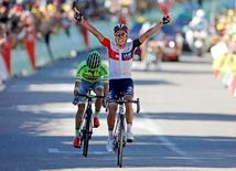 IAM team rider Jarlinson Pantano of Colombia wins on the finish line ahead of Tinkoff rider Rafal Majka of Poland.  REUTERS/Jean-Paul Pelissier