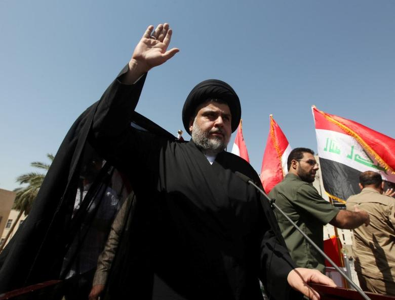 Iraqi Shi'ite cleric Moqtada al-Sadr is seen during a protest against corruption at Tahrir Square in Baghdad, July 15, 2016.  REUTERS/Alaa Al-Marjani