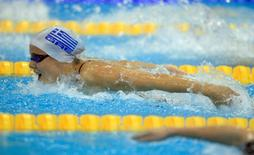 Kristel Vourna of Greece competes in the women's 100m butterfly heats during the 2012 European Swimming Championship in Debrecen May 24, 2012.         REUTERS/Bernadett Szabo