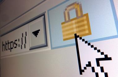 A lock icon, signifying an encrypted Internet connection, is seen on an...