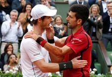 Novak Djokovic of Serbia  and Andy Murray of Britain after Djokovic won at the French Open.  REUTERS/Jacky Naegelen