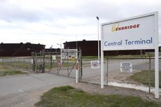 The entrance to Enbridge Inc.'s crude oil storage tank farm in Cushing, Oklahoma, March 24, 2016. REUTERS/Nick Oxford - RTSDLPF