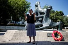 Ilana Romano, widow of Israeli athlete Yossef Romano, one of 11 Israeli team members who were killed by Palestinian gunmen during the 1972 Summer Olympics in Munich, speaks during a memorial ceremony for the victims of the Munich massacre with the Israeli athletes who will represent Israel at the 2016 Rio Olympics, in Tel Aviv, Israel July 13, 2016. REUTERS/Amir Cohen