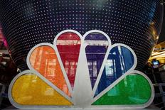 An NBC logo filled with candies is pcitured in the NBC store inside Rockefeller Center in New York April 30, 2013.  REUTERS/Lucas Jackson