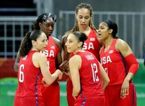 USA guard Sue Bird (6),USA guard Diana Taurasi (12), USA forward Maya Moore (7) USA center Tina Charles (14) and USA center Brittney Griner (15) huddle up during the game against Spain during the women's basketball preliminary round in the Rio 2016 Summer Olympic Games at Youth Arena. Mandatory Credit: Matt Kryger-USA TODAY Sports