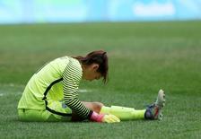 Goleira Hope Solo durante partida contra a Suécia   REUTERS/Ueslei Marcelino