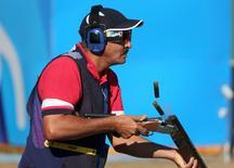 2016 Rio Olympics - Shooting - Final - Men's Skeet Finals - Olympic Shooting Centre - Rio de Janeiro, Brazil - 13/08/2016. Abdullah Alrashidi (KUW) of Independent Olympic Athlete competes.  REUTERS/Edgard Garrido