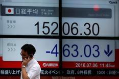 Un hombre que habla por celular pasa cerca de una pantalla que muestra el índice Nikkei de Japón, afuera de una correduría en Tokio, Japón. 6 de julio de 2016. El índice Nikkei de la bolsa de Tokio cayó el lunes en un débil volumen de negocios, luego de que el yen se fortaleció y de que datos revelaron que el crecimiento económico de Japón se estancó en el segundo trimestre. REUTERS/Issei Kato