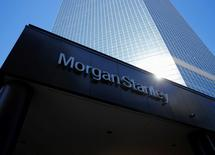 The corporate logo of financial firm Morgan Stanley is pictured on a building in San Diego, California September 24, 2013.  REUTERS/Mike Blake/File Photo
