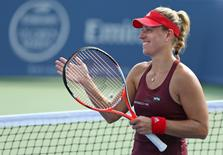 Aug 18, 2016; Mason, OH, USA; Angelique Kerber (GER) reacts to defeating Barbora Strycova (CZE) on day six during the Western and Southern tennis tournament at Linder Family Tennis Center. Aaron Doster-USA TODAY Sports