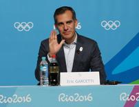 Aug 9, 2016; Rio de Janeiro, Brazil;   Los Angeles mayor Eric Garcetti during a LA2024 Los Angeles bid press conference during the Rio 2016 Summer Olympic Games at Olympic Gold Course. Mandatory Credit: Jerry Lai-USA TODAY Sports