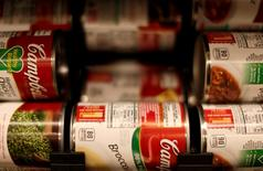 Cans of Campbell's brand soups are seen at the Safeway store in Wheaton, Maryland February 13, 2015.    REUTERS/Gary Cameron/File Photo