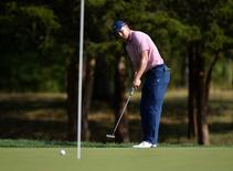 Aug 26, 2016; Farmingdale, NY, USA; Jordan Spieth watches his putt on the 13th hole during the second round of The Barclays golf tournament at Bethpage State Park - Black Course. Mandatory Credit: Eric Sucar-USA TODAY Sports