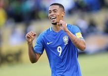 Gabriel Jesus comemora gol do Brasil contra o Equador. 01/09/16.  REUTERS/Guillermo Granja