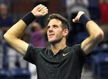 Sept 1, 2016; New York, NY, USA;  Juan Martin del Potro of Argentina after beating Steve Johnson of the USA on day four of the 2016 U.S. Open tennis tournament at USTA Billie Jean King National Tennis Center. Mandatory Credit: Robert Deutsch-USA TODAY Sports