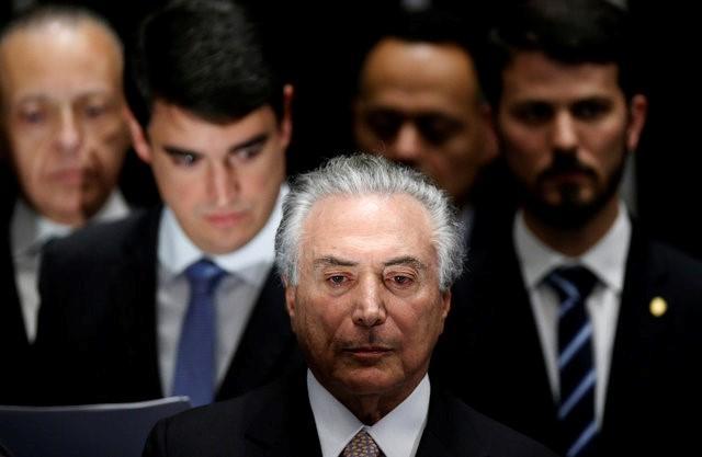 Brazil's new President Michel Temer attends the presidential inauguration ceremony after Brazil's Senate removed President Dilma Rousseff in Brasilia, Brazil, August 31, 2016.  REUTERS/Ueslei Marcelino
