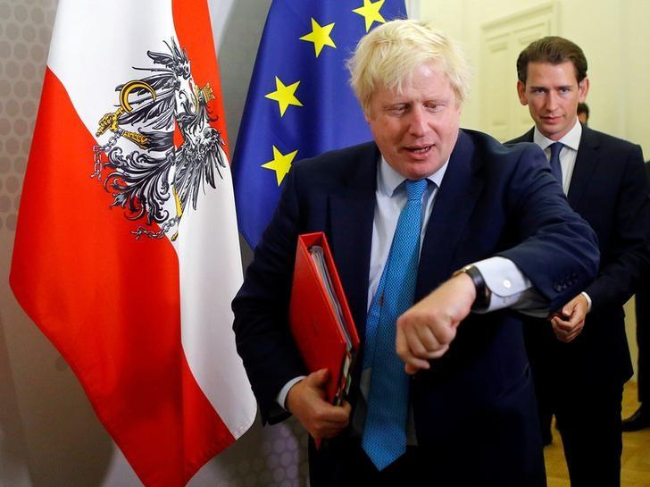 Britain's Foreign Secretary Boris Johnson (L) and Austria's Foreign Minister Sebastian Kurz arrive for a media statement after a meeting at the foreign ministry in Vienna, Austria September 2, 2016. REUTERS/Heinz-Peter Bader