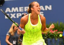 Sept 2, 2016; New York, NY, USA; Madison Keys of the United States reacts after beating Naomi Osaka of Japan on day five of the 2016 U.S. Open tennis tournament at USTA Billie Jean King National Tennis Center. Robert Deutsch-USA TODAY Sports